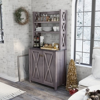 Link to Furniture of America Figg Rustic Grey Multi-shelf Microwave Cabinet Similar Items in Dining Room & Bar Furniture