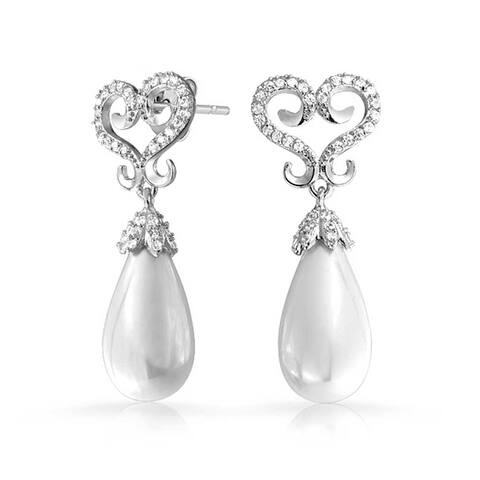 Bridal Heart Drop Dangle Statement Imitation Pearl Earrings Prom Silver Plated