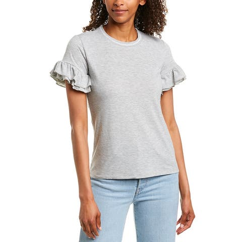 Romeo & Juliet Couture Ruffle Sleeve Top - HEATHER GREY