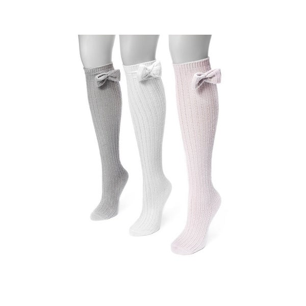 Muk Luks Socks Womens Pointelle Bow Knee High 3 pack One Size - One size
