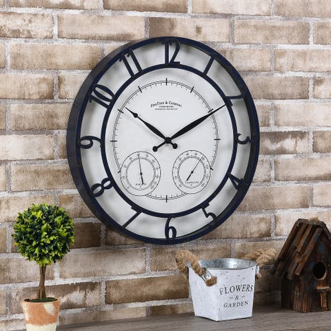 FirsTime & Co.® Navy Laguna Outdoor Clock, American Crafted, Distressed Navy Blue, Plastic, 18 x 2 x 18 in - 18 x 2 x 18 in