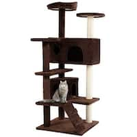 Gymax Cat Tree Kitten Tower with Scratching Post and Ladder Kitten Condo Play House