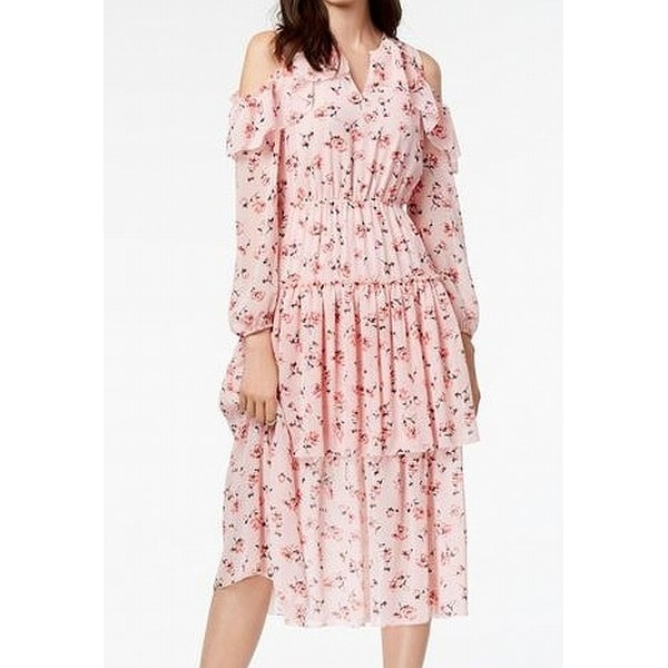 dabc901afa4 Shop Maison Jules Pink Women s Size XXS Cold-Shoulder Flounce Maxi Dress -  On Sale - Free Shipping On Orders Over  45 - Overstock - 27082312