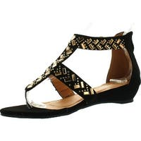 Forever Adward Sparkle Rhinestone T-Strap Ankle Cuff Low Wedge Dress Thong Sandal Shoes - black nub