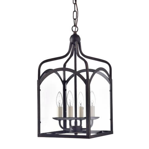 Antique Bronze 4-Light Glass Lantern Pendant