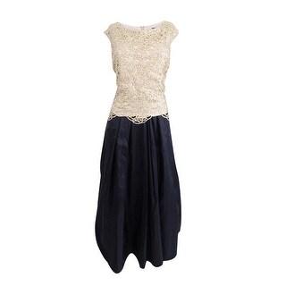 Alex Evenings Women's Metallic Lace Dress (14P, Black Gold) - Black Gold - 14P