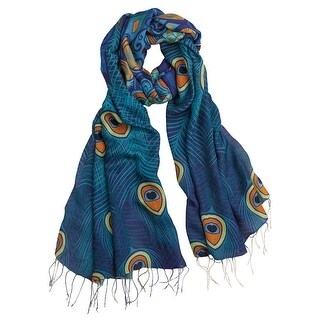 Women's Peacock Feathers - Fringed Fashion Scarf Wrap - One size