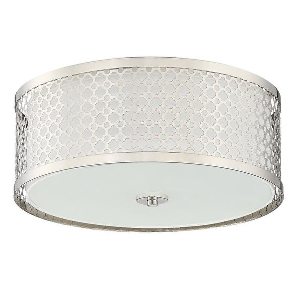 Miseno Mlfl4093 16in Wide 3 Light Flush Mount Drum Ceiling Fixture Polished Nickel N A Free Shipping Today 27156324