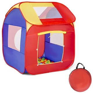 Costway Portable Kid Baby Play House Toy Tent Game Playhut 100 Balls Indoor Outdoor - Red&Blue&Yellow