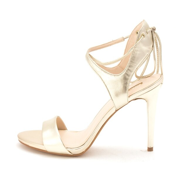GUESS Womens Christa Leather Open Toe Ankle Wrap Classic Pumps