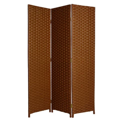 Wooden Foldable 3 Panel Room Divider with Streamline Design, Dark Brown - 72 H x 2 W x 54 L Inches
