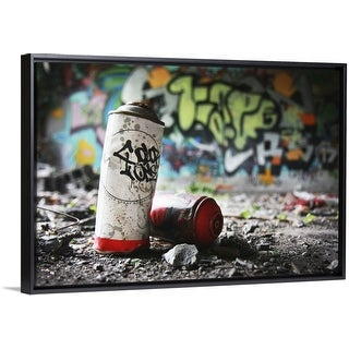 """""""Piece of evidence - empty paint can in front of graffiti-covered wall"""" Black Float Frame Canvas Art"""
