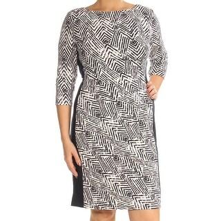 Womens Black White Geometric 3/4 Sleeve Knee Length Body Con Wear To Work Dress Size: 12