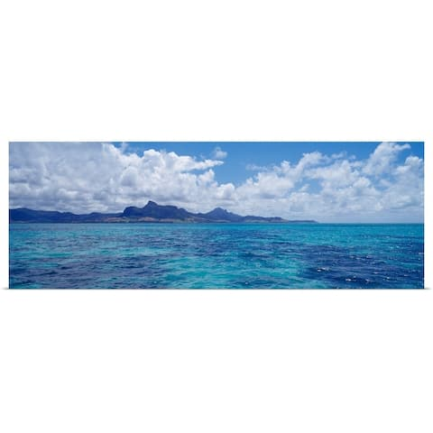 """""""Ocean with mountains in the background Mauritius"""" Poster Print"""