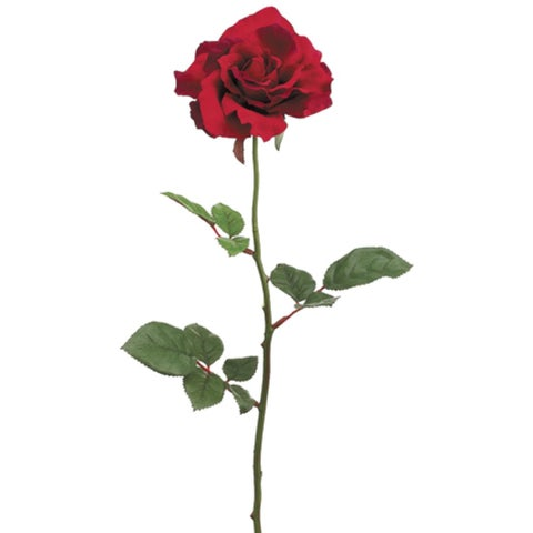 """Club Pack of 24 Artificial Large Single Red Rose Silk Flower Sprays 27"""""""