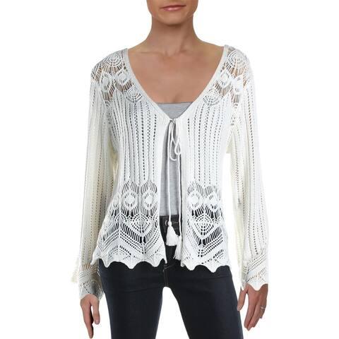 Aqua Womens Sweater Crochet Open Knit - Cream