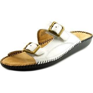 Auditions Spring Women W Open Toe Leather White Slides Sandal