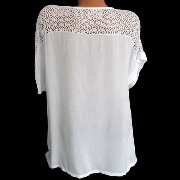 Women's Lace V-Neck Embroidered Short Sleeve Bat Shirt. Opens flyout.