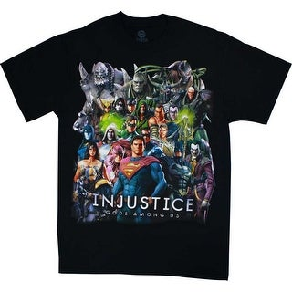 DC Comics Injustice All Over Group Men's Black T-Shirt
