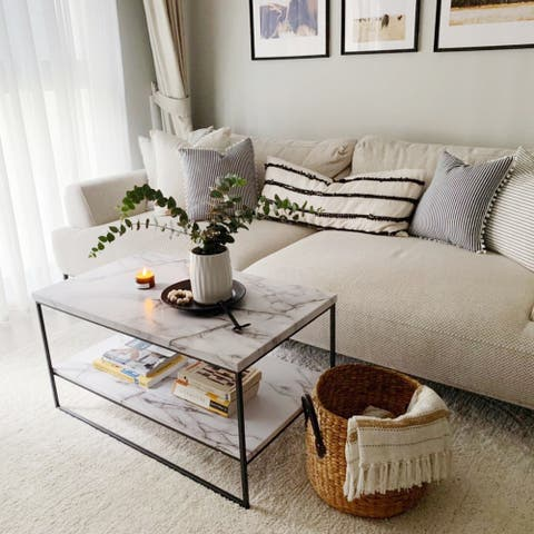 Roomfitters 2 Tier White Faux Marble Print Coffee Table