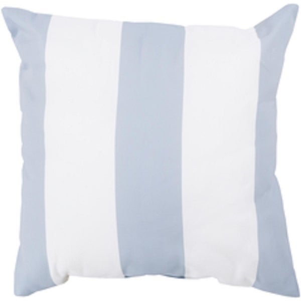 "18"" Light Gray and Ivory Beach Striped Decorative Pillow Shell"