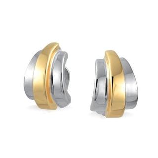 Geometric Two Tone Shrimp Half Hoop Clip On Earrings Non Pierced Ears Shinny 14K Gold Silver Plated Brass