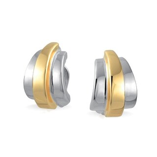 Bling Jewelry Linear Half Hoop Clip On Earrings Polished Gold Plated Rhodium Plated Alloy