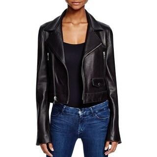 DKNY Womens Leather Coat Lambskin Leather Asymmetric