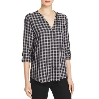 Soft Joie Womens Dane Button-Down Top Band Collar Flannel