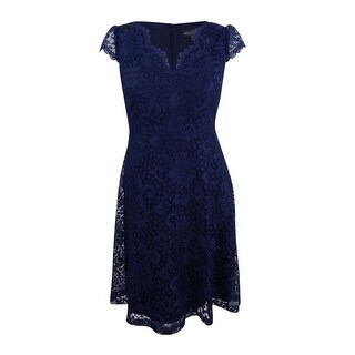 Connected Women's Petite Cap-Sleeve Lace Fit & Flare Dress (14P, Navy) - Navy - 14P
