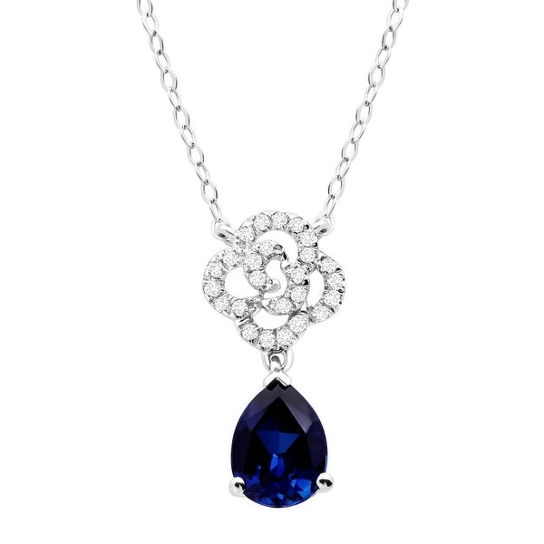 1 3/8 ct Created Blue & White Sapphire Flower Drop Pendant in 10K White Gold