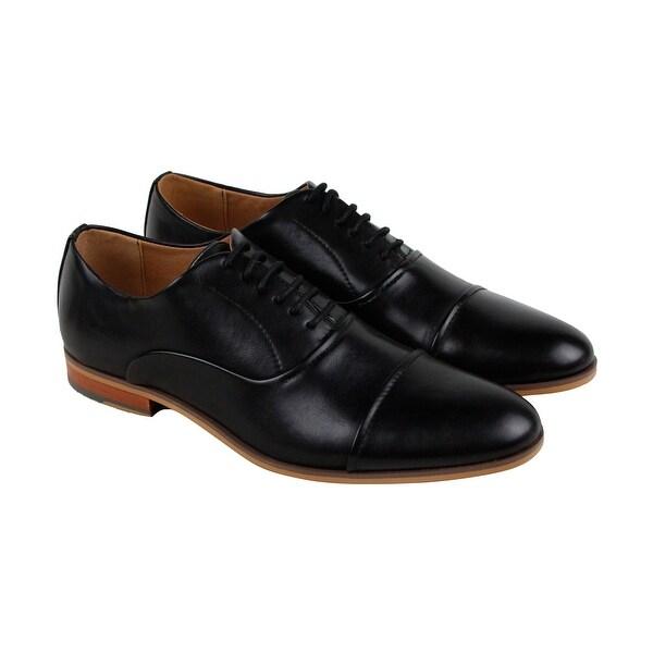 Steve Madden M-Entre Mens Black Leather Casual Dress Lace Up Oxfords Shoes