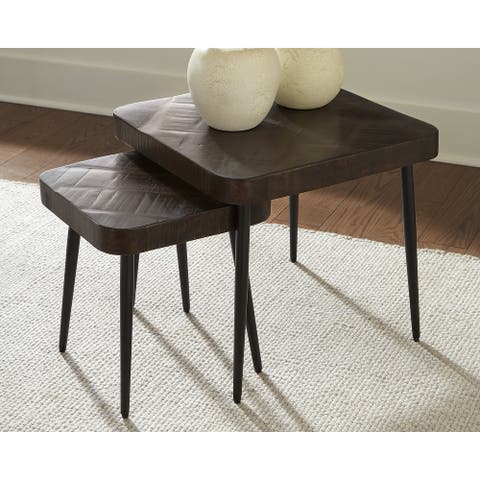 Ravenwood Contemporary Brown/Black Accent Table - Set of 2 - Dimensions Vary