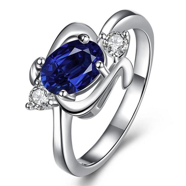 Mock Sapphire Gem Spiral Emblem Petite Ring