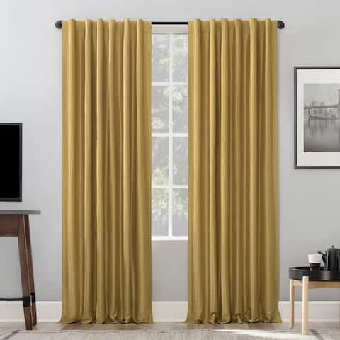 Sun Zero Evelina Faux Dupioni Silk Thermal Blackout Curtain Panel
