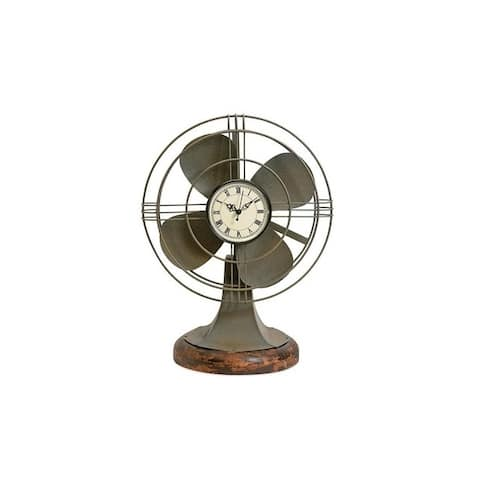 "17.5"" Brown Vintage Style Thatcher Fan Clock"