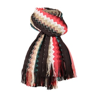 Link to Missoni Autumn Red Long Zigzag Fringe Metallic Accent Scarf - 20-69 Similar Items in Scarves & Wraps