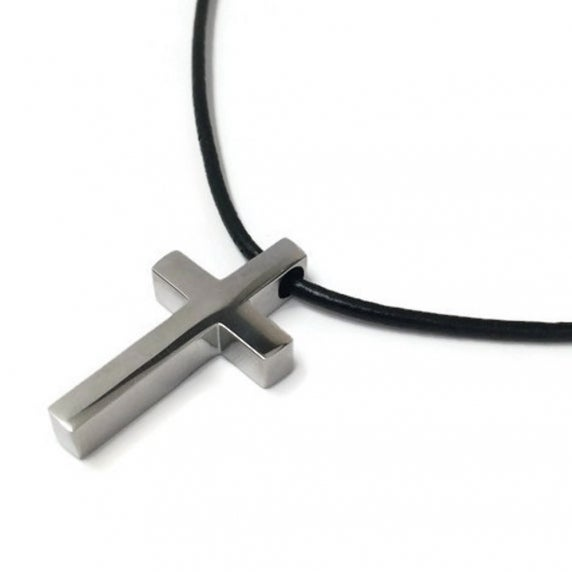 Loralyn Designs Small Simple Stainless Steel Cross Pendant Black Leather Cord