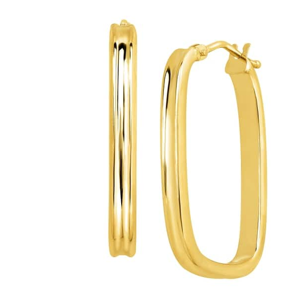 Just Gold Rectangular Hoop Earrings In 14k