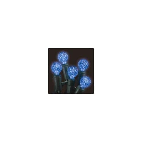 Christmas at Winterland S-70G12BL-4G 23 Foot String of G12 Globe Blue LED Lights with 4 Inch Spacing and Green Wire