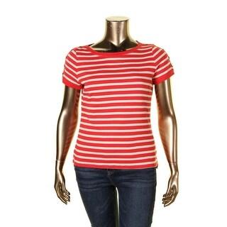 LRL Lauren Jeans Co. Womens T-Shirt Button Shoulder Striped - xL