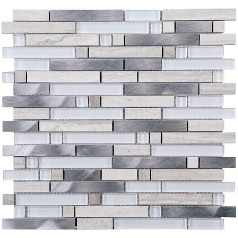TileGen. Series Thread Random Sized Mosaic Tile in Beige/White Wall Tile (10 sheets/9.6sqft.)
