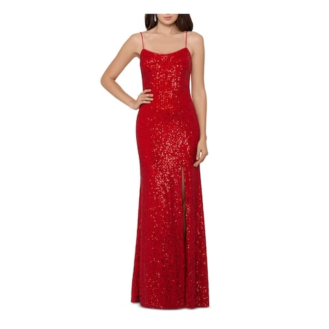 XSCAPE Red Spaghetti Strap Full-Length Sheath Dress Size 2