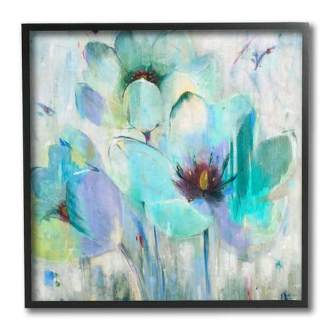 Stupell Industries Blue Lilly Abstraction Distressed Rustic Charm Framed Wall Art