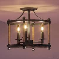 "Luxury Rustic Semi-Flush Ceiling Light, 13""H x 13""W, with Country Style, Tightly Wound Rope Design, Royal Bronze Finish"