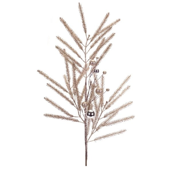 "Club Pack of 12 Champagne Decorative Artificial Glittered Pine Christmas Sprays with Ornaments 33"" - GOLD"