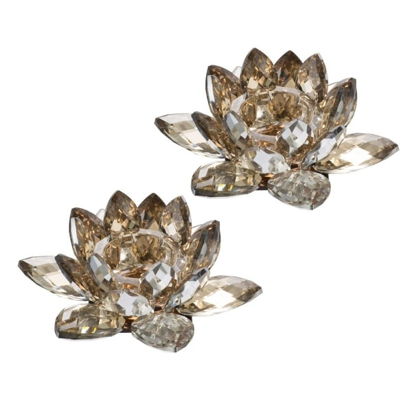 """Set of 2 Gold Vintage Style Lotus Small Candle Holders 5.75"""" - N/A"""