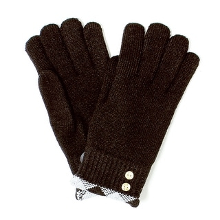 Womens Plaid Trimmed Gold Button Winter Gloves Lined