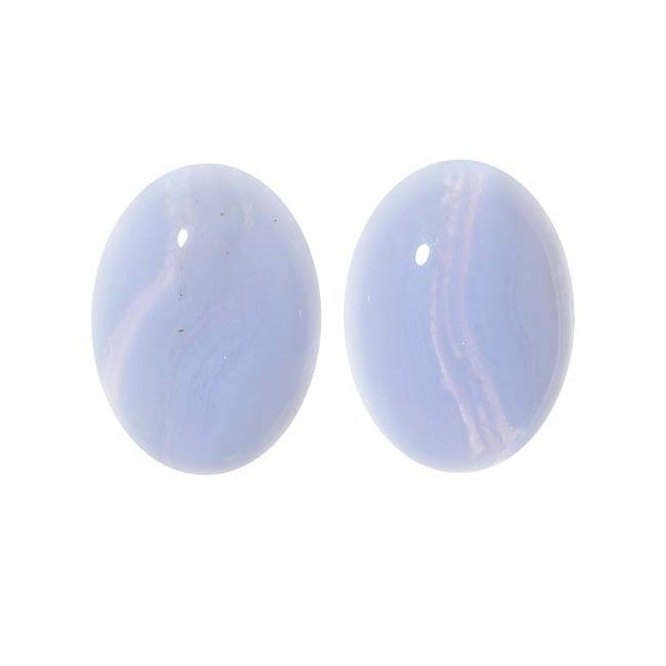 Blue Lace Agate Gemstone Oval Flat-Back Cabochons 18x13mm (2 Pieces)