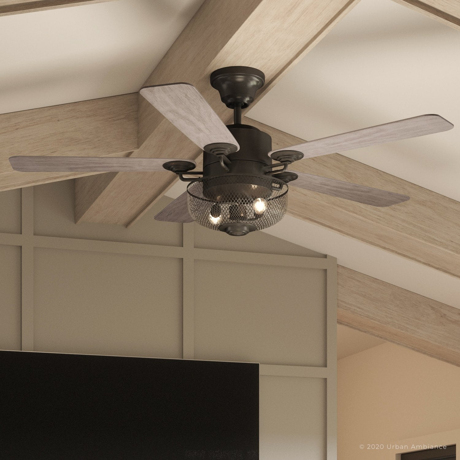 Luxury Vintage Indoor Ceiling Fan 20 H X 54 W With Modern Farmhouse Style Olde Iron Finish Uhp9100 By Urban Ambiance Overstock 32450266